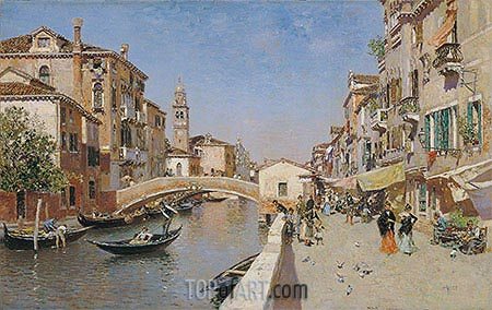 San Lorenzo River with the Campanile of San Giorgio dei greci, Venice, c.1900 | Martin Rico y Ortega | Painting Reproduction