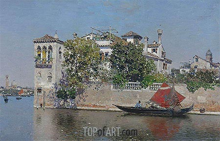A View of a Venetian Garden, undated | Martin Rico y Ortega| Painting Reproduction