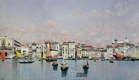 The Doge's Palace and the Riva degli Schiavoni, Venice, undated | Martin Rico y Ortega| Painting Reproduction