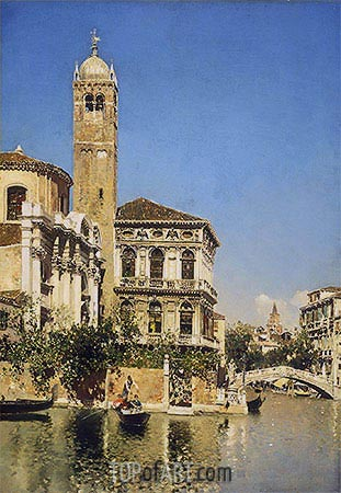 A Venetian Canal Scene, undated | Martin Rico y Ortega| Painting Reproduction