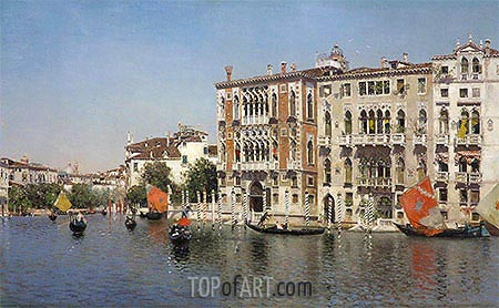A View of Palazzo Cavalli and Palazzo Barbaro on the Grand Canal, undated | Martin Rico y Ortega| Painting Reproduction