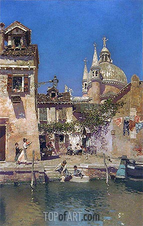 Venetian Canal Scene, undated | Martin Rico y Ortega| Painting Reproduction