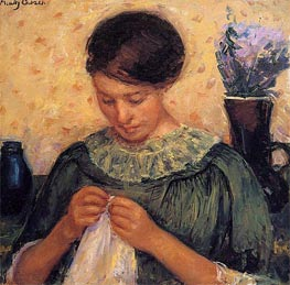 Woman Sewing, c.1913/14 by Cassatt | Painting Reproduction