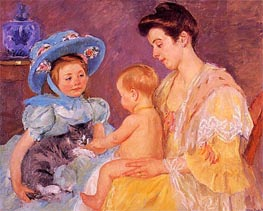 Children Playing with a Cat, 1908 by Cassatt | Painting Reproduction
