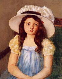 Francoise Wearing a Big White Hat, c.1908 by Cassatt | Painting Reproduction