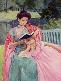 Augusta Reading to Her Daughter | Cassatt | Painting Reproduction