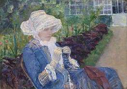 Lydia Crocheting in the Garden at Marly | Cassatt | Painting Reproduction