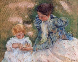 Mother Playing with Child | Cassatt | Painting Reproduction