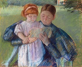 Nurse Reading to a Little Girl, 1895 by Cassatt | Painting Reproduction