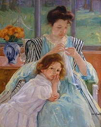 Young Mother Sewing, 1900 by Cassatt | Painting Reproduction