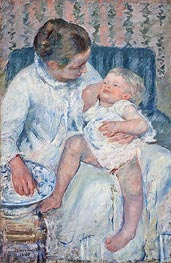 Mother About to Wash Her Sleepy Child, 1880 by Cassatt | Painting Reproduction