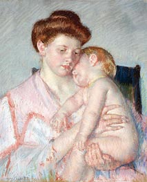 Sleepy Baby, c.1910 by Cassatt | Painting Reproduction