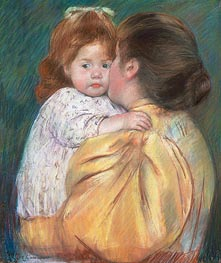 Mother and Child (Maternal Kiss), 1897 by Cassatt | Painting Reproduction