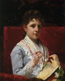 Mary Ellison Embroidering, 1877 by Cassatt | Painting Reproduction