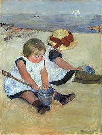 Children Playing on the Beach | Cassatt | Gemälde Reproduktion