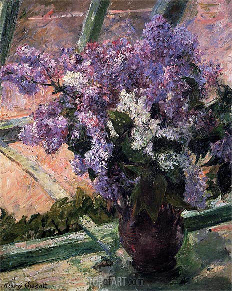 Lilacs in a Window, c.1880 | Cassatt | Painting Reproduction