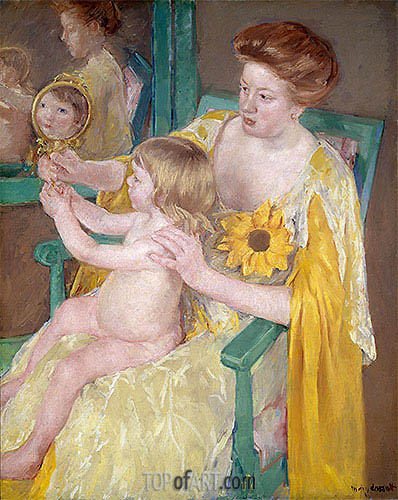 The Mirror (Mother and Child), c.1905 | Cassatt | Painting Reproduction