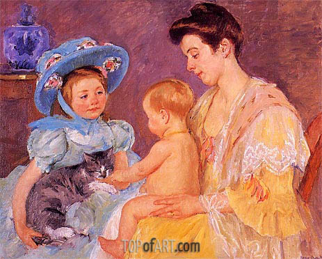 Children Playing with a Cat, 1908 | Cassatt | Painting Reproduction