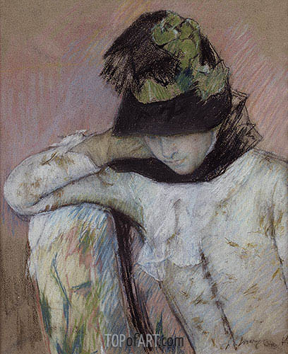 Young Woman in a Black and Green Bonnet, Looking Down, c.1890 | Cassatt| Painting Reproduction