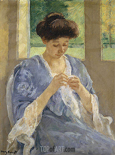 Augusta Sewing Before a Window, c.1905/10 | Cassatt| Painting Reproduction