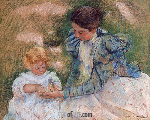 Mother Playing with Child, c.1897 | Cassatt | Painting Reproduction