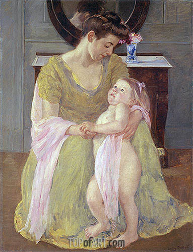 Mother and Child with a Rose Scarf, c.1908 | Cassatt| Gemälde Reproduktion