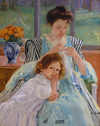 Young Mother Sewing, 1900 | Cassatt| Painting Reproduction