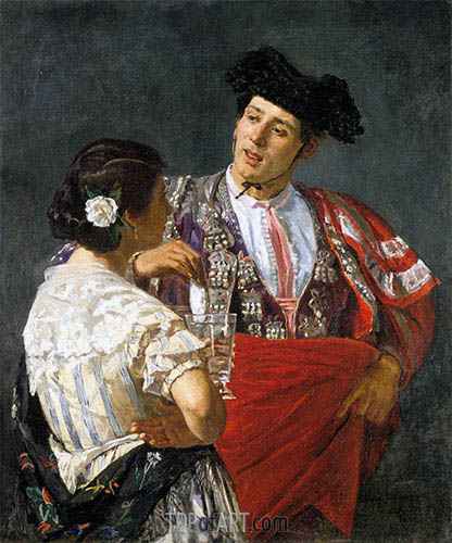 Offering the Panale to the Bullfighter, 1873 | Cassatt | Painting Reproduction