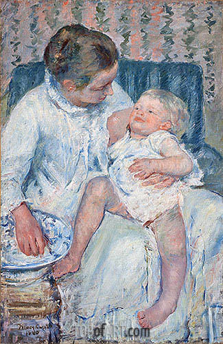 Mother About to Wash Her Sleepy Child, 1880 | Cassatt | Painting Reproduction