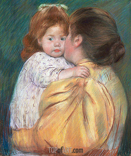 Mother and Child (Maternal Kiss), 1897 | Cassatt | Painting Reproduction