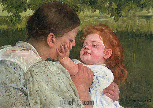 Maternal Caress, c.1896 | Cassatt| Painting Reproduction
