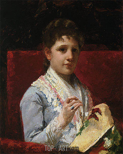Mary Ellison Embroidering, 1877 | Cassatt | Painting Reproduction