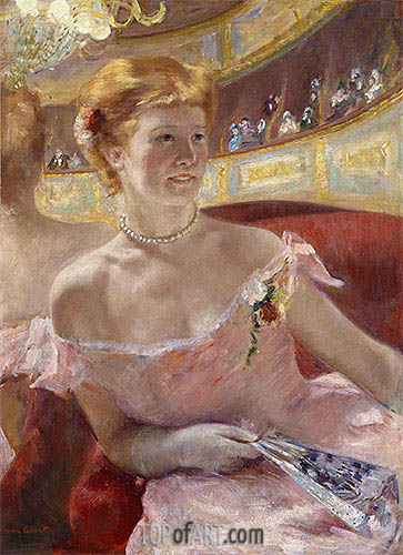 Woman with a Pearl Necklace in a Loge, 1879 | Cassatt| Gemälde Reproduktion