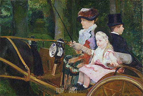 A Woman and a Girl Driving, 1881 | Cassatt | Painting Reproduction