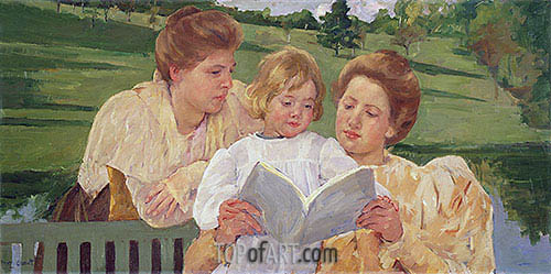 Family Group Reading, c.1901 | Cassatt | Gemälde Reproduktion