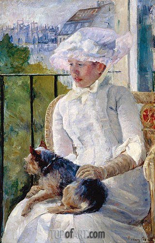 Young Girl at a Window, c.1883/84 | Cassatt| Painting Reproduction