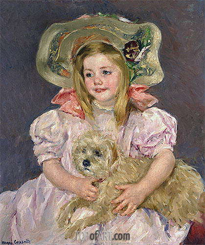 Smiling Sarah with Dog, c.1901 | Cassatt | Painting Reproduction