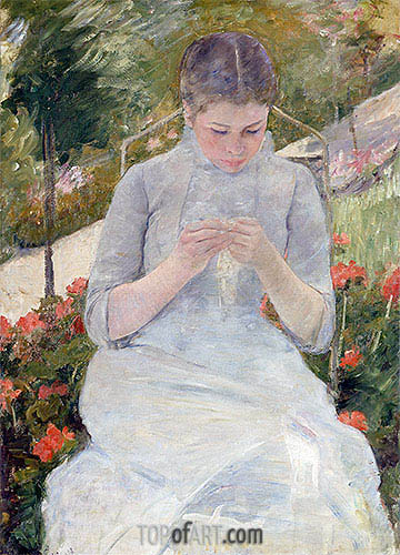Young Girl Sewing in a Garden, c.1980/82 | Cassatt| Painting Reproduction