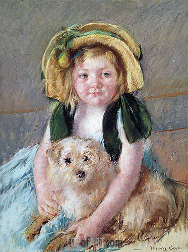 Sara with her Dog, c.1901 | Cassatt| Painting Reproduction