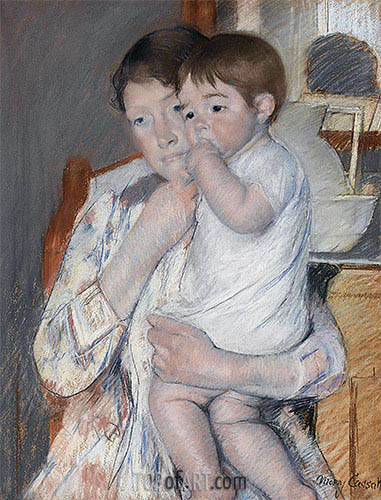 Woman and Child before a Washstand, 1889 | Cassatt| Painting Reproduction