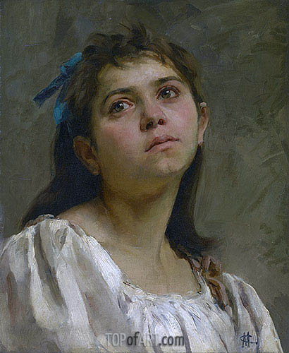 Pensive Roman Girl, undated | Cassatt| Painting Reproduction