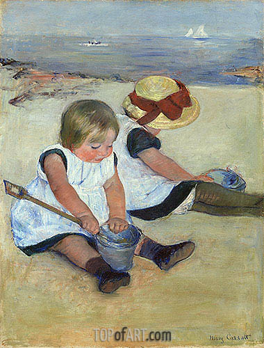 Children Playing on the Beach, 1884 | Cassatt | Painting Reproduction