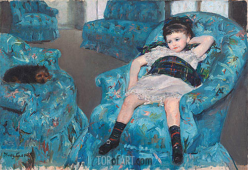 Little Girl in a Blue Armchair, 1878 | Cassatt | Gemälde Reproduktion