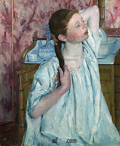 Girl Arranging Her Hair, 1886 | Cassatt | Painting Reproduction