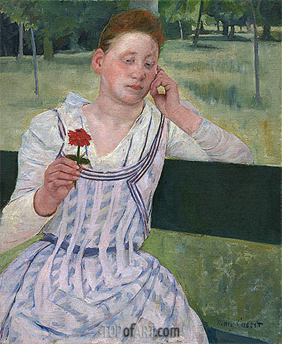 Woman with a Red Zinnia, 1891 | Cassatt | Gemälde Reproduktion