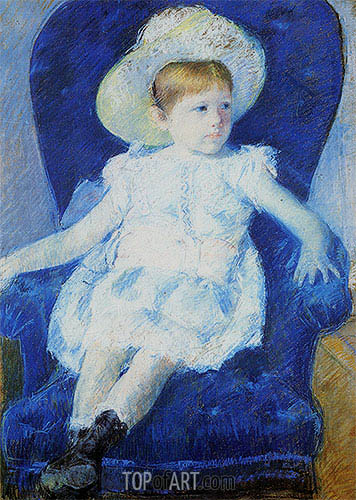 Elsie in a Blue Chair, 1880 | Cassatt | Painting Reproduction