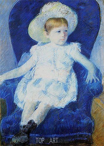 Elsie in a Blue Chair, 1880 | Cassatt | Gemälde Reproduktion