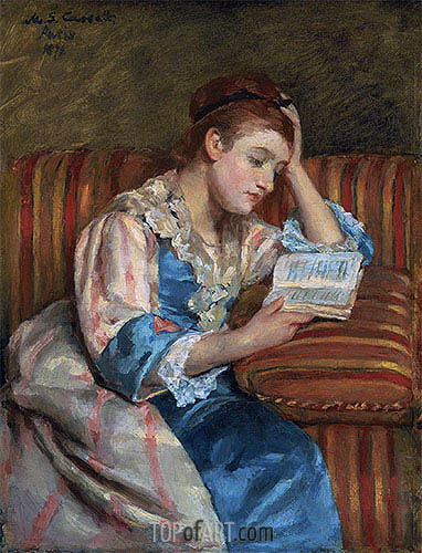 Mrs. Duffee Seated on a Striped Sofa, Reading, 1876 | Cassatt | Gemälde Reproduktion