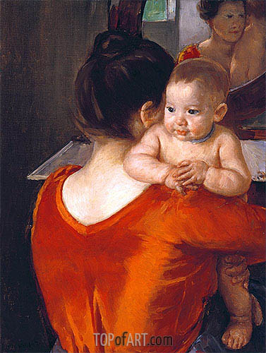 Woman in a Red Bodice and Her Child, c.1901 | Cassatt | Painting Reproduction