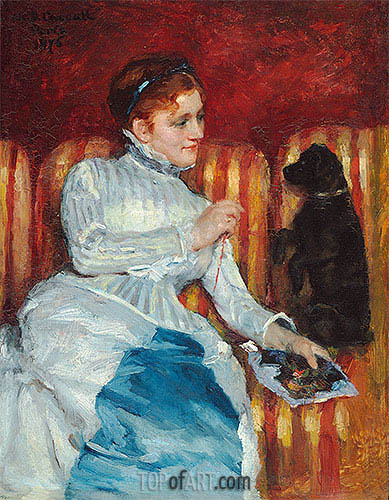 Woman on a Striped Sofa with a Dog, 1876 | Cassatt| Gemälde Reproduktion
